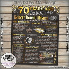 70th Birthday 1948 printable chalkboard style poster -- A fun poster filled with facts, events, and tidbits from the USA in 1948. Makes an excellent gift or party decoration! See below for how to customize your poster, as well as how to print it! *** DIGITAL PRINTABLE FILES ONLY! No