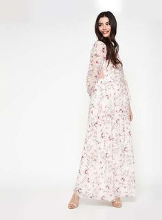 Premium lace yoke floral maxi dress