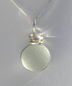 $60 Sea Glass Necklace-Seafoam Green Wire Wrapped SeaGlass Necklace in Argentium Silver 930