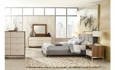Candiac Upholstered Bedroom Set - really like the bed; would pair with black nightstands