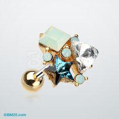 Golden Asteria Opalite Sparkle Cluster Cartilage Tragus Barbell