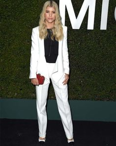 Celeb Style: How to Dress like Sophia Richie - white suit separates styled with a black top for contrast