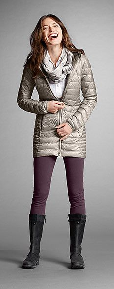 A great look for fall or winter, featuring our Astoria Down Hooded Parka Down Parka, Down Coat, Fall Winter Outfits, Winter Fashion, Hooded Parka, Outdoor Outfit, Eddie Bauer, Sunlight, Cold Weather