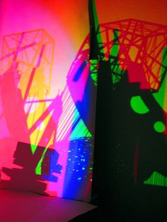 3 color (RGB) lighting the white model - installations from the differing points. My students's (1 year) experimental studying the basics of the theory of the color.  Russia, Krasnoyarsk Fine Art Institute. Department of the Art of the Interior. March, 2009.