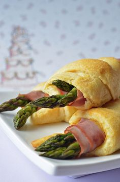 Ham, cheese and asparagus cresent rolls.