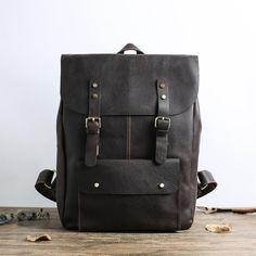 Handmade Full Grain Leather School Backpack Casual Travel | Etsy Leather School Backpack, Brown Leather Messenger Bag, My Academia, Laptop Backpack, Travel Backpack, Ipad Bag, Personalized Backpack, College Bags, School Backpacks