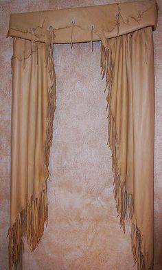 Western Style fringed leather curtains and valance. - Western Style fringed leather curtains and valance… OMG I need these!