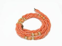 Faux Coral and Pearl Twist Necklace, 3 Strands, 24 Inch, Vintage Necklace, Gold…