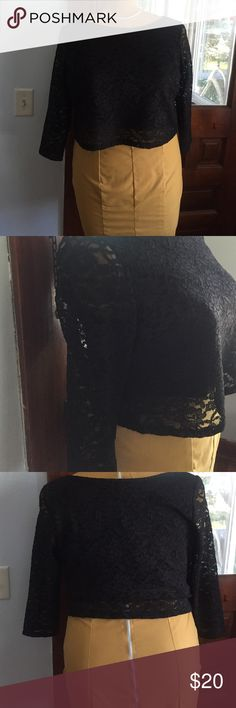 Black lace crop NWOT Lane Bryant 18/20 NWOT, super cute this crop top is black lace with a black lining on body only (no lining in arms) Lane Bryant Tops Crop Tops