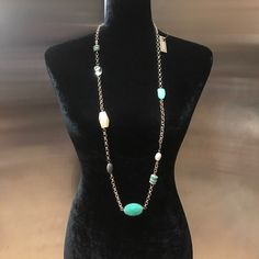 """✨4/22 HP✨ NWT 36""""-40"""" necklace. NWT 36""""-40"""" adjustable necklace. Colourful (mint green) & neutral simulated stones on gold toned chain. 30%metal, 30% plastic, 20% wood & 10% other.    xztwtwuy Chico's Jewelry Necklaces"""