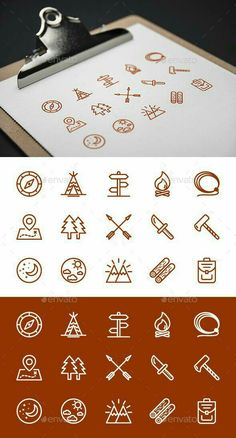 Buy Camping Icons by on GraphicRiver. 15 Outlined Icons for camping and adventures. Camping Icons, Camping Theme, Camping Hacks, Camping Gear, Outdoor Camping, Adventure Symbol, Adventure Camp, Logo Design Inspiration, Icon Design