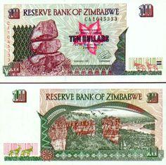 Zimbabwe 10 Dollars 1997 (Re Matapos Rocks; Money Notes, Zimbabwe, African, Stamp, Pretty, Collection, Design, Money, Stop It