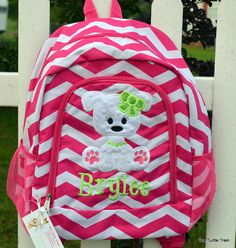 Girls Backpack Pink Chevron Puppy Applique by TheTurtleTrain ...