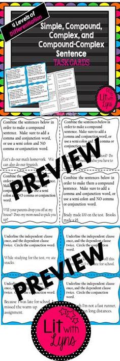 Varying sentence structure is an essential component of the Common Core State Standards (CCSS). The following set includes a total of 36 task cards: -4 review simple, compound, complex, compound-complex sentences  -16 that focus on compound sentences- using commas and conjunction words, as well as semi colons -8 that focus on complex sentences -8 that focus on compound-complex sentences -8 that review all 4 sentence types -duplicate task cards with answers