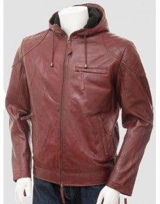 Brown Biker Hooded Leather Jacket