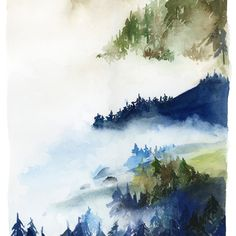 Landscape of Forest in Indigo and Green Art Print
