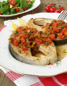 Vkusnoteka: Swordfish steak with sauce Putaneska