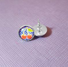 Blue Chevron Cherry Silver Plated Glass Stud Earrings / handcrafted earrings / handmade earrings / Cherry Earrings / Chevron Earrings