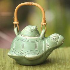 Fair Trade Ceramic Teapot , 'Turtle Mom', Indonesia, Handmade Novica 145095