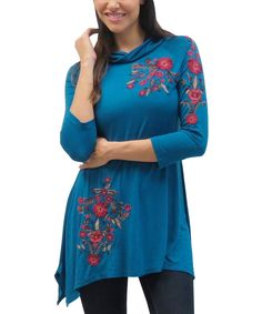 Look at this Teal Jewel Amelia Cowl Neck Tunic on #zulily today!