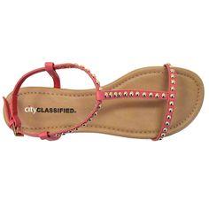 City Classified Delva-S Gold Studded Vegan Gladiator Sandals (salmon PU)