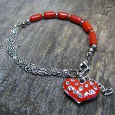 Heart Bracelet Red Coral Bracelet Red Heart Bracelet