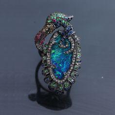 Designer elegant multi stone large opal bird ring #Blueopal #Ring #Ruby #Tsavorite #Diamond #BirdRing #Designer #Fashion #LongRing #SterlingSilver #Handmade #Elegant #Gift #Occasion #Wholesale #AbhaasJewels ABHAAS JEWELS CORP 7 West 45th Street, Suite-1501 New York, NY-10036 U.S.A Tel : +91 9460292707 Tel : 212-704-4266 Email : enquiry@abhaas.com Skype: Jewelryabhaas