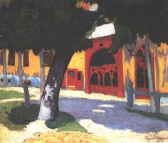 Sándor Ziffer (Hungarian, 1880-1962), post-impressionist from the Nagybanya school. Red Gate, 1908.