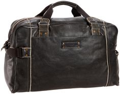 Andrew Marc Mens Retro Calf Leather Weekend Duffel
