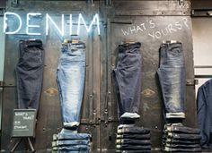 Nice denim board at Timberland denim store in London.