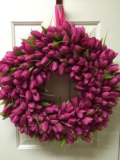 Spring Tulip wreath by Twentycoats Wreath Creations (2015)