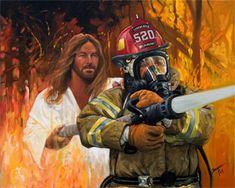 JesusArtUSA Christian Art images of Jesus Christ. Firefighter Paramedic, Firefighter Quotes, Volunteer Firefighter, Firefighter Family, Firefighter Tools, Firefighter Workout, American Firefighter, Firefighter Training, Christian Memes