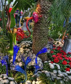 Dale Chihuly's glass art.  Looks like Wonka's conservatory.