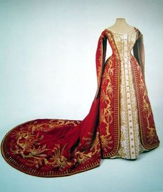 red Russian dress. Not renaissance, but could be tweaked to look more Tudor.