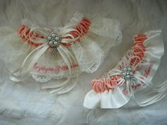 Elegant vintage Ivory and Coral personalized wedding garter set. Keepsake garter is Style 10 with organza overlay - Toss garter is Style 9.