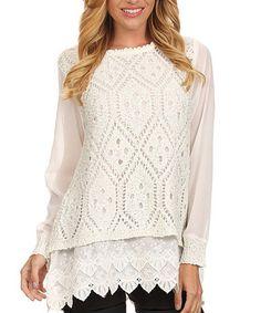 Look at this #zulilyfind! Ivory Pointelle Lace-Layered Sweater #zulilyfinds