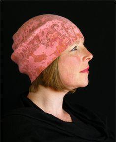 Pink and orange paisely beanie, Medium, Large, Merino wool, silk, nuno felt, winter hat.  OOAK, warm, crushable and cute!