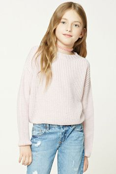 Forever 21 Girls - A ribbed knit sweater featuring a round neckline and long sleeves. (11-12)