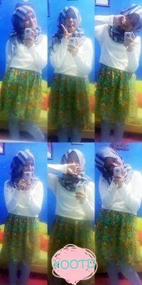 T-Shirt + mini skirt + jeans + hijab :)