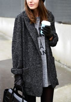Dark grey tweed coat + coffee for the win