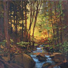 Luz en el bosque - misión de Artes y oficios artesano Creek Sunset - Giclee Fine Art PRINT de la pintura Original mate 12 x 12 Jan Schmuckal