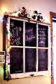 Vintage window frame chalkboard... I wonder if I could add cork to some of the panes....