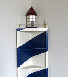 nautical corner shelf | Lighthouse Corner Shelf Nautical Decor Display - coupon code vintage10