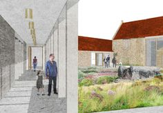 Architect Laplace & Co's impression of new gallery, courtyard and renovated barn gallery. © Hauser & Wirth