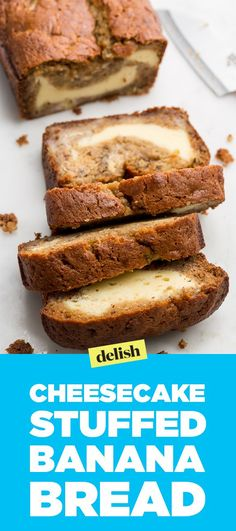 It's all about the creamy swirl in this cheesecake stuffed banana bread. Get the recipe on Delish.com.
