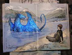 Eragon and Saphira. Leona Lake by AndreevaPolina on DeviantArt Fantasy Dragon, Dragon Art, Fantasy Art, Eragon Fan Art, Eragon Saphira, Inheritance Cycle, Christopher Paolini, Dragon Rider, Wings Of Fire