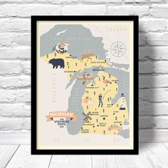 Michigan Map The Wolverine state map original by ConsiderGraphics