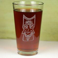Third Eye Tiki Etched Sandblasted Pint Glass by GlassBlastedArt, $15.00