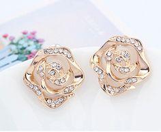 Rose with Rhinestone Heart Fashion Earrings from LilyFair Jewelry, $9.99!