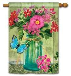 """""""Mason Jar Bouquet"""" House and Garden flags at Flag Fables Home"""